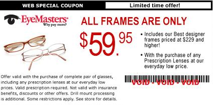 this coupon makes any frame they sell 5999 including designer frames normally priced at 229 you can also get this coupon from visionworks here