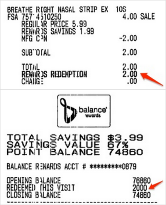 Balance Rewards Points Redemption Receipt