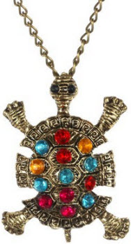 Amazon Tortoise with Multi-Coloured Crystal Pendant Necklace