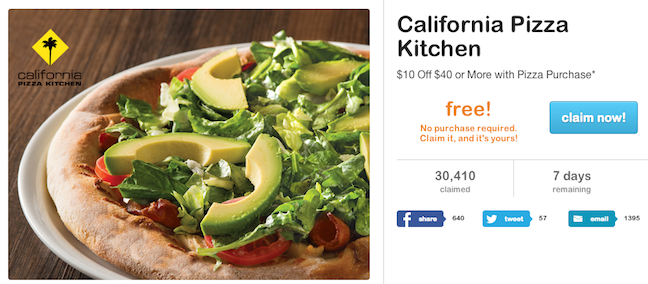 10 Off A 40 California Pizza Kitchen Purchase