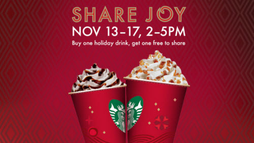 Starbucks B1G1 FREE Holiday Drink