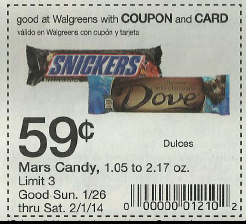1. Mars runs their best deals around the holidays when you buy more than one package. When a $1/2 coupon becomes available, you can receive free candy! If you're a fan of their ice cream treats, look for the $2 off Mars ice cream coupon and get any Dove Bars, Snickers, Twix, M&M and Milky Way ice cream boxes for less than $1. 2.