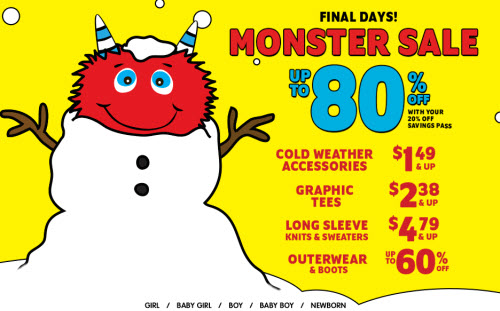 The Children's Place Monster Sale (thru 1-17)