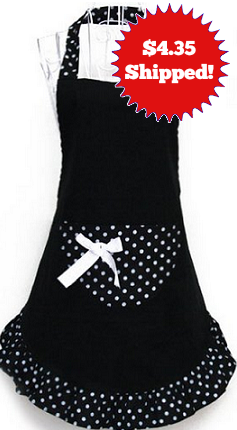 Adorable Black & White Apron $4.35 Shipped