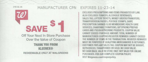 Surprise RR for Kleenex -- 85¢ per box!