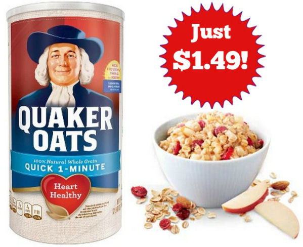Quaker Oats 42oz Just $1.49 Next Week!