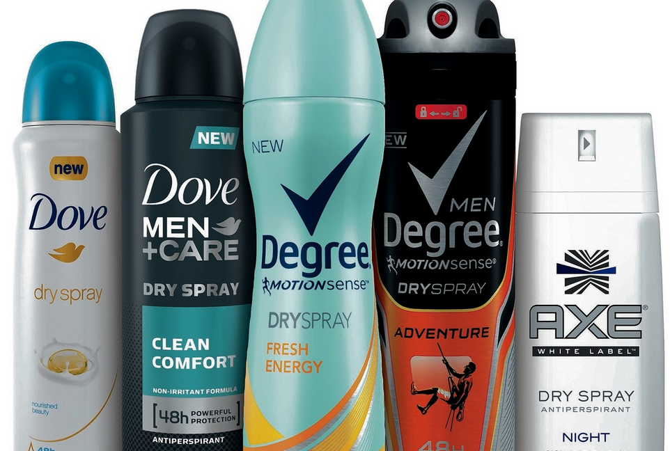 Dove, Degree, Axe Dry Spray