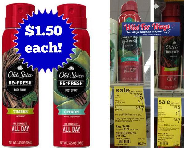 Old Spice Sprays $1.50 Each!