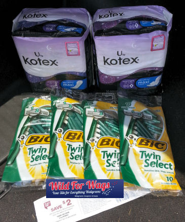 Kotex RR Deal +  Bic Points = 63¢ Per Item