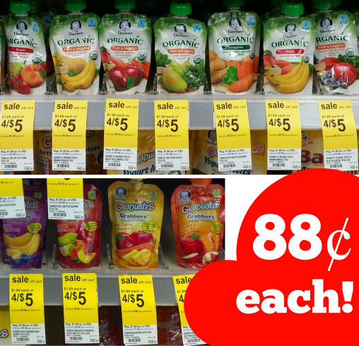 Gerber Pouches Just 88¢ Each