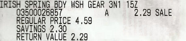 irish spring receipt