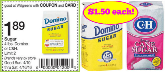 Domino or C&H Sugar $1.50 for 4lbs Bag!