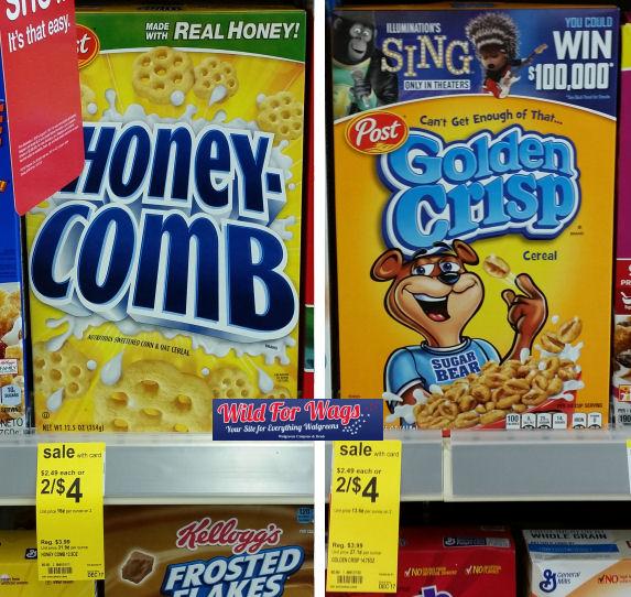 Honey-Comb & Golden Crisp Cereals Just $1.48