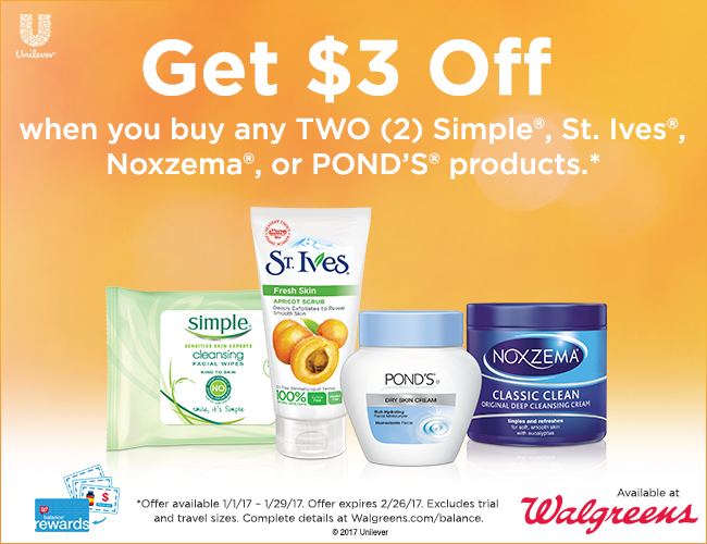 Simple, Ponds, Noxzema, St. Ives coupon