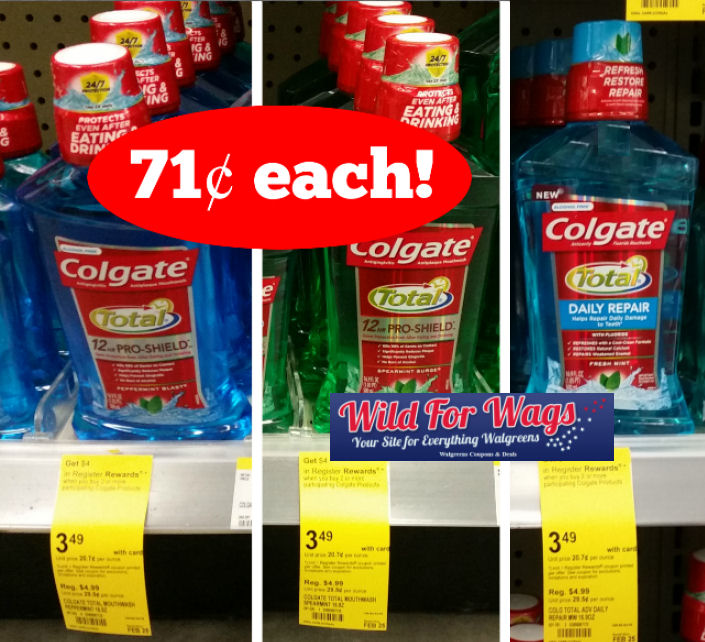 Colgate Total Pro-Shield or Daily Repair Rinse 71¢ Each!