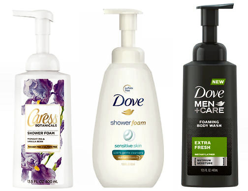 dove and caress shower foam