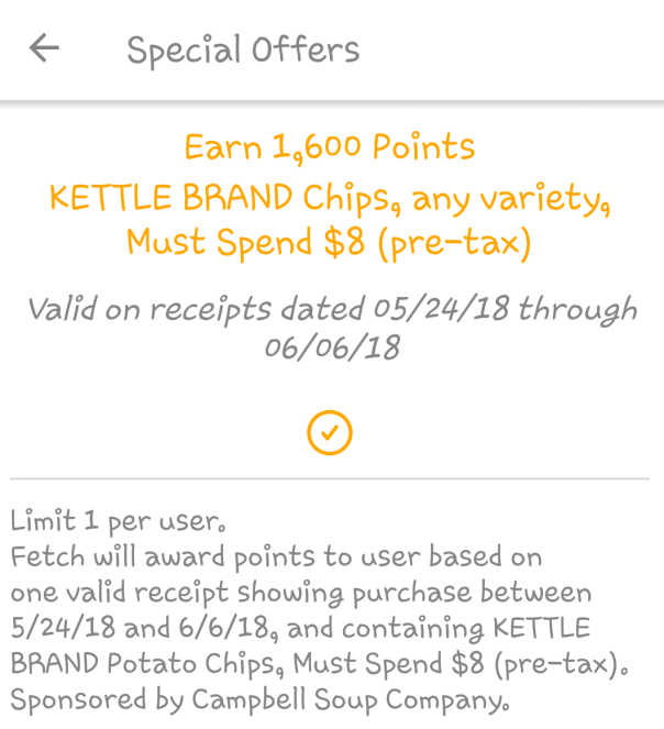 Kettle brand fetch rewards special offer