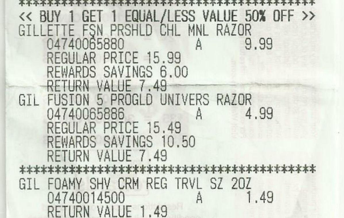 gillete proglide receipt